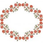 cadre victorien avec roses rouges — Vecteur