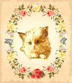 Vintage greeting card with fluffy kitten — Stock Vector