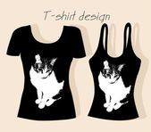 T-shirt design with cat — Stock Vector