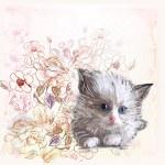 přání s nadýchanými kotě a růže — Stock vektor
