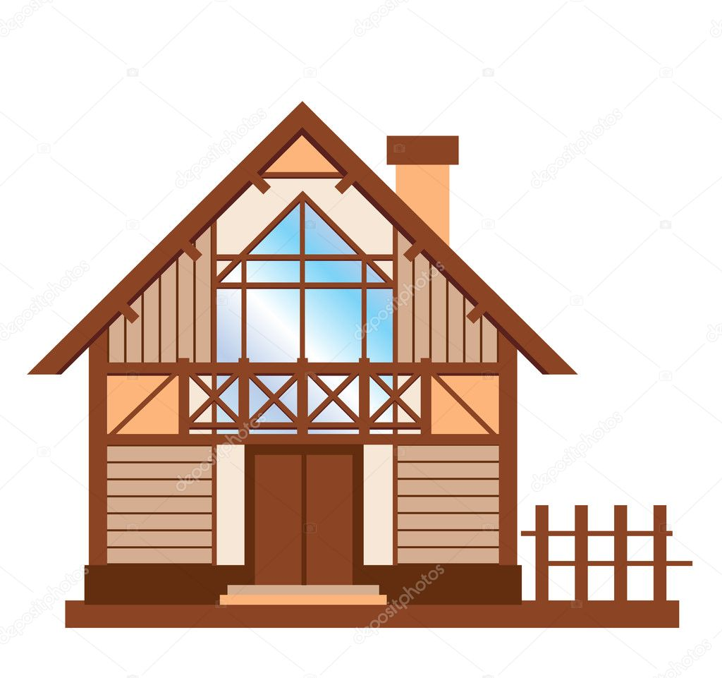 Model Of Wooden Family House Stock Vector Sannare 4502581