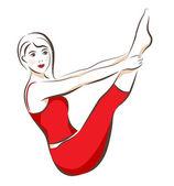 Girl doing shaping exercise — Stock Vector