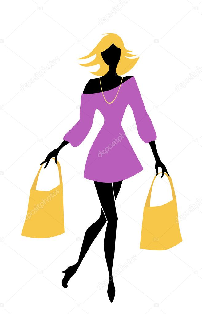 Fashion shopping girl with bags — Stock Vector #4561040