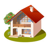 Model of three dimensions family house — Stock Vector