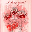 Valentines day greeting card with red rose and heart — 图库矢量图片