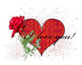 Valentines day greeting card with red rose and heart — Stock Vector
