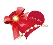 валентинка с сердцем и лук — Cтоковый вектор