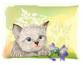 Hand drawn portrait of the fluffy kitten with bluebell — Stock Vector
