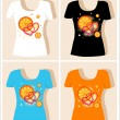 T-shirt design  with  oranges and hearts — Grafika wektorowa