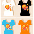 T-shirt design  with  oranges and hearts — Image vectorielle