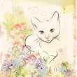Abstract background with cat an flowers — ストックベクタ