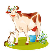 Happy cow and cat — Stock Vector