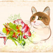 Vintage portrait of cat with flowers — Stock Vector