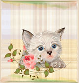 Fluffy kitten with rose — Stock Vector