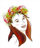 Portrait ginger girl with green eyes — Stockvektor