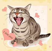 Cat in love. Greeting card — Stock Vector