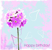 Happy birthday card with pink flowers — Stock Vector