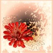 Abstract background with red flower - Stock Vector