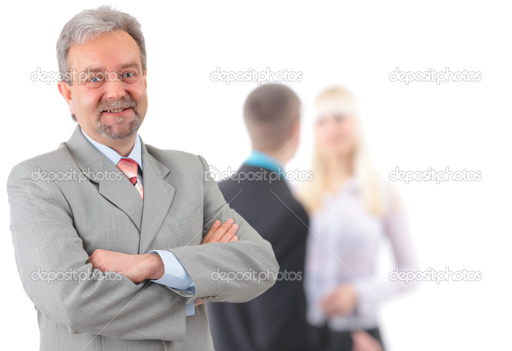 Business man and his team isolated over a white background   Stock Photo #4828695