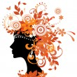 Silhouette of woman with autumn leaves — Vector de stock