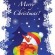 cartolina di Natale con pupazzo di neve — Vettoriale Stock