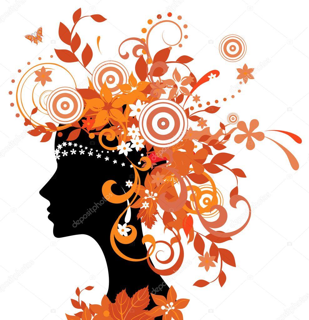 秋天的叶子的女人的剪影 — 图库矢量图片 #4040975