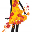 Silhouette of woman with autumn leaves — ストックベクタ
