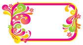 レトロ花柄要素を持つフレーム — ストックベクタ