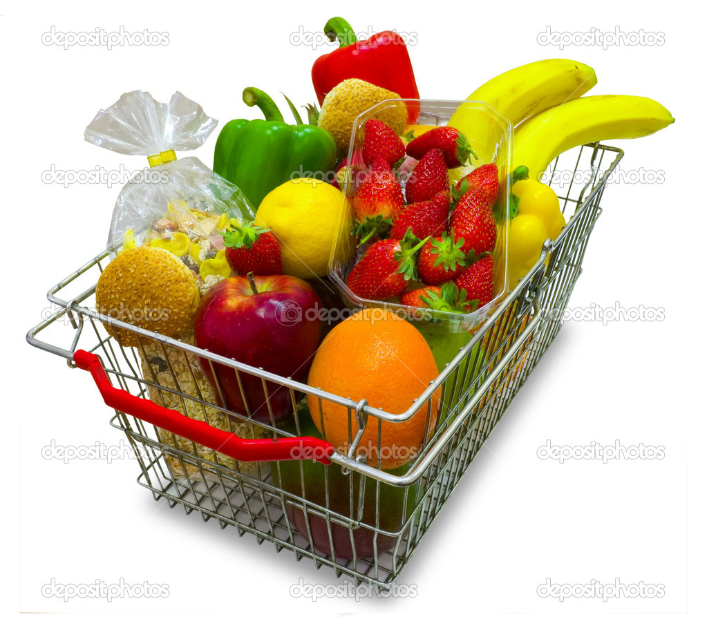 A shopping basket full of fresh colorful vegetables isolated on white background. — Stock Photo #4493677