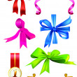Set of vector bows and ribbons — Stock Vector