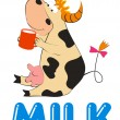 Cartoon  cow with mug of milk, vector — Stok Vektör