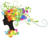Ozdobny sylwetka kobiety z kwiatami — Wektor stockowy