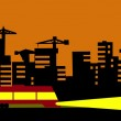 Vector illustration of the evening city — Stock Vector