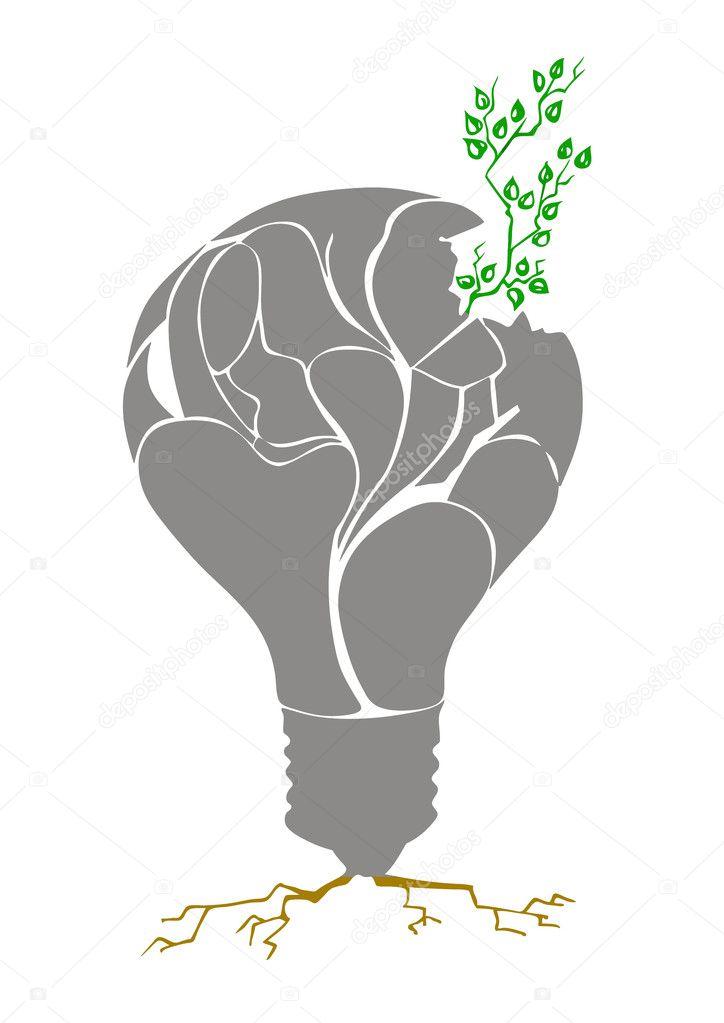 pflanze in gl hbirne vektor stockvektor 3939489. Black Bedroom Furniture Sets. Home Design Ideas