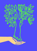 Drawing of the hand holding tree — Vector de stock