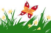 Illustration of the butterfly amongst flower — Stock Vector