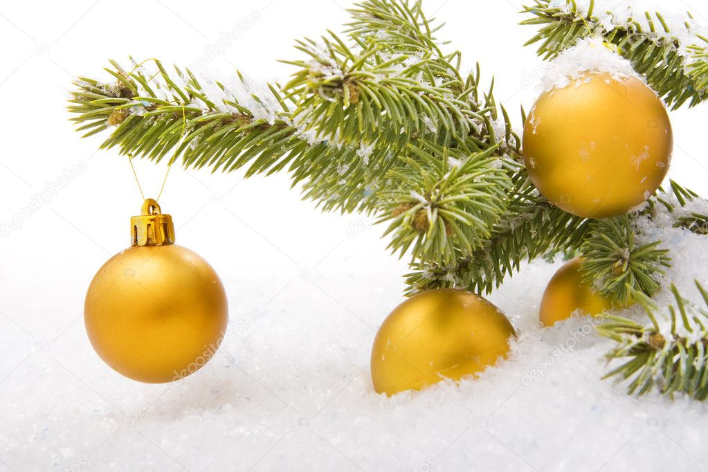 Christmas balls with snow.  Stock Photo #4335326