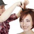 Stylist makes hairstyle. — Stock Photo #4673299