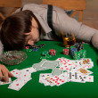 Stock Photo: Poker player fell asleep