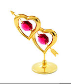 Golden statue of two hearts — Stock Photo