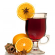 Hot mulled wine with oranges, anise and cinnamon — Stock Photo