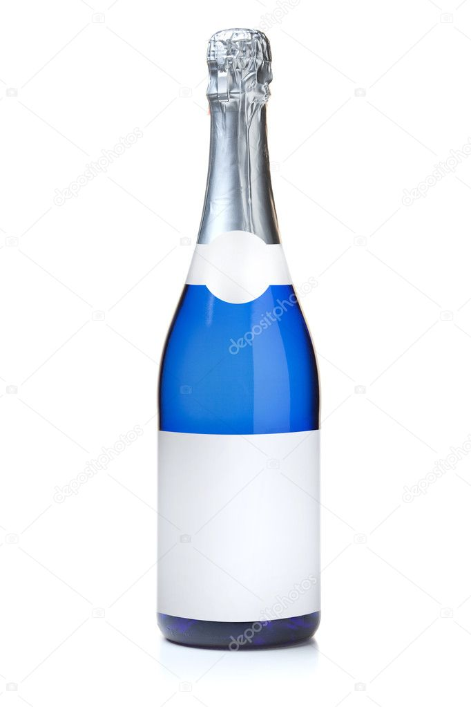 Blue champagne bottle — Stock Photo © karandaev #4196023