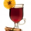 Hot mulled wine with orange slice, anise and cinnamon sticks — Stock Photo
