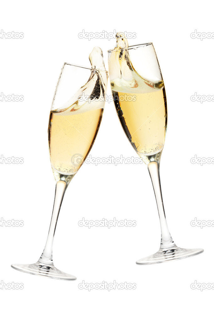 Cheers! Two champagne glasses. Isolated on white — Stock Photo #4250522