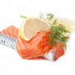 Two salmon pieces with lemon and dill — Stock Photo