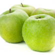Four ripe green apples — Stock Photo #4986045