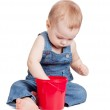 Small baby with toy bucket — Stock Photo #5301441