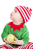 Small baby in santa suit — Stock Photo