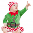 Small baby in santa suit - Stock Photo