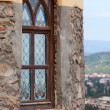 The antique window in old stone wall — Stock Photo